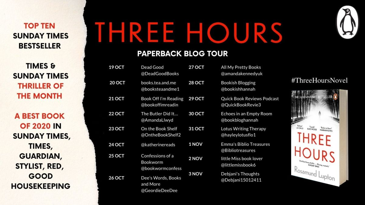 Three Hours by Rosamund Lupton – Review | Blog Tour